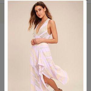 FP Lavender Adrien Striped Midi dress
